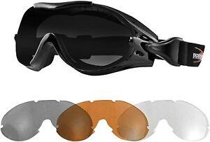 BOBSTER BPX001 Phoenix OTG Motorcycle Interchangeable Goggles (3 Lenses)