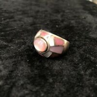 Vintage MRF Solid 925 Sterling Silver Moonstone Size 9 Pink Inlay China Ring