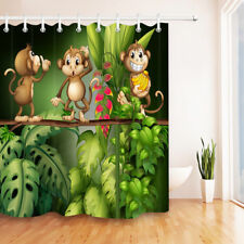 Waterproof Fabric Cartoon Monkey in the Jungle Shower Curtain Liner Bathroom Set