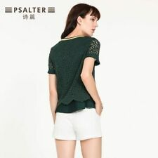 PSALTER emerald green lace ruffled top