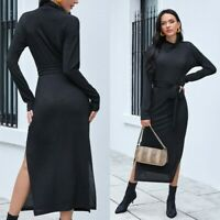 Women Sexy Slim Maxi Dress Bodycon Long Sleeve Ball Gown Party Stretchy Dresses
