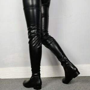 Women Flat Over The Knee Boots Round Toe Knight Thigh High Low Chunky Club Shoes