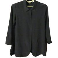 Soft Surroundings Black Button Down Collared Long Sleeve Silk Tunic Top SZ M