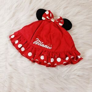 Disney Baby Sun Hat Minnie Mouse Ears Black Red Infant