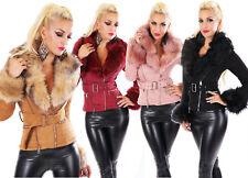 Giaccone giubbino giacca donna eco suede ecopelliccia staccabile nuovo #