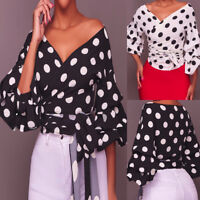 Women Sexy Long Puff Sleeve V-Neck Polka Dot Ruched Blouse Shirt With Belt