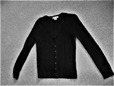 LIZ CLAIBORNE PETITE Medium Long Sleeve Black Button Ribbed Sweater Cardigan Top