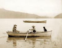 "1906-1916 A Boy, Girl, Dog & a Rowboat, MO Old Photo 8.5"" x 11"" Reprint"