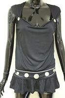 Morgan De Toi womens diagor black cowl neck frill peplum waist disc pattern top