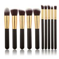 10Pcs Pro Face Powder Eye Shadow Lip Brush Make up Cosmetic Brushes Set Tool Kit