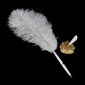 White Ostrich Quill Feather Signing Pen & Gorgeous Holder Wedding Guest Book