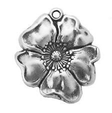 """Sterling Silver New Charms Flower, Poppy 2.4 Grams H 7/8"""" X W 3/4"""" Fashionable"""