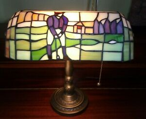 TIFFANY STYLE STAIN GLASS DESK LAMP BANKERS ACCENT LAMP GOLF DECOR
