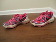 Used Worn Size 9 Nike KD 8 Prm Aunt Pearl Shoes Vivid Pink, Black, Blue, White