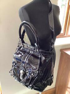 Francesco Biasia Large patent leather tote, very dark aubergine, matching purse