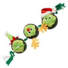 House of Paws Christmas 3x Brussel Sprouts on a Rope Dog Toy   Squeaky Festive