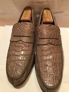Gucci Beige Crocodile Mens Shoes, Size 9D, Near Perfect Condition