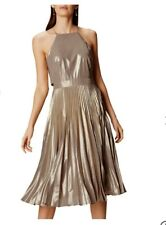 Karen Millen Metallic Pleated Dress, Gold