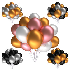 Luftballons Silber Gold Rosegold Schwarz 25 Metallic Silvester Hochzeit Party