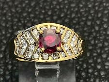0.65ct Cushion Cut RUBY & DIAMOND Cocktail Ring 18k Yellow Gold