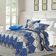 Patchwork Quilted Comfy Bedspread Bedding Set Embroidered Throw Double King Size