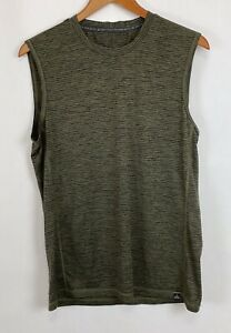 Prana Men's Vent Tech Tank Top Sleeveless Shirt Green Stripes Size Medium