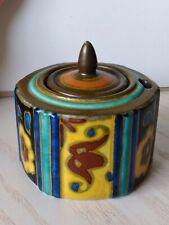 Royal Gouda Keramik Tintenfaß für Schreibfeder mit Deckel Art-Déco-Zeit Höhe 8cm