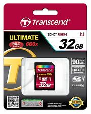 Tarjeta Memoria SD 32 GB 90MB/s 600x CLASE 10 Transcend Ultimate SDHC 90 Class