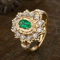 Natural Colombian Emerald Diamond Dull Polish Wedding Ring 14K Multi-Tone Gold