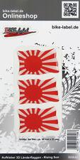 Aufkleber 3D Länder-Flaggen Rising Sun 3 Stck. je 50 x 33 mm - 300642
