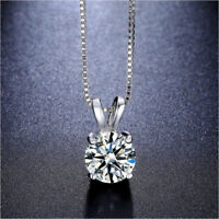 2 Ct Crystal Created Round Brilliant Cut 14k Silver Plated Pendant Necklace