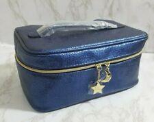 ESTEE LAUDER BLUE MAKEUP COSMETIC MAKEUP CASE BAG FAUX LEATHER 9*6*4 INCH