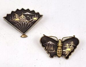 2 X Vintage Japanese Damascene Brooches Jewellery Butterfly & Fan