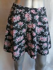 Women Divided Black with Pink Floral Circle Skirt Size M