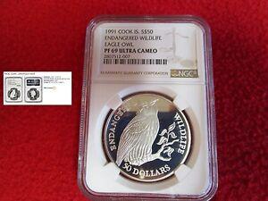 1991 COOK ISLANDS $50 .925 SILVER EAGLE OWL NGC PF69 Endangered Wildlife