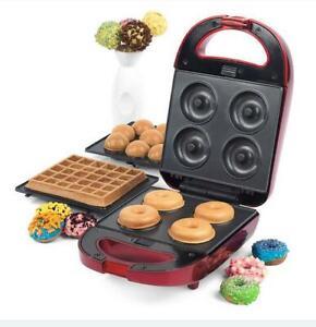 Giles & Posner 600W 3-in-1 Treat Maker Doughnut, Cake Pop & Waffle Maker- Red