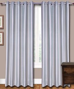Silver Grey Faux Silk Dupioni Curtains with Lining, Select Top, Width & Length