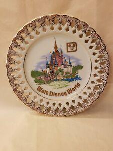 Vintage Walt Disney World Souvenir Cinderella's Castle Plate w/ Gold Lace Trim