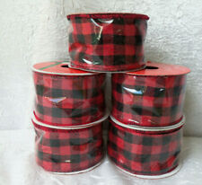"5 Rolls Wire Edge Ribbon 2"" x 9Ft, Red & Black Checkered Ribbon #527"