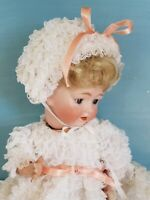 "VTG Baby Doll 8.5""Ruffled Lace Dress Bonnet for 14-15""Antique Bisque Composition"