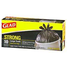 Glad Quick Tie Strong Large Trash Bags, 30 Gallon, Black 10 ea