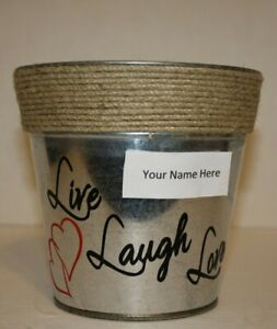 """Personalized Galvanized Rustic """"live laugh love"""" Country bucket with roping top"""