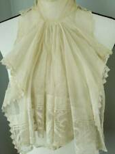 Antique Filet Lace and Mesh Ruffled Collar w/ Bib Mid to Late 19th Century