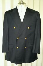 Gieves & Hawkes Navy Blue Double Breasted Jacket 44R Blazer Gold Button