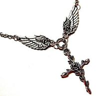 SILVER CROSS ANGEL WING PENDANT NECKLACE Jesus Christ Christian Guardian rose 4E