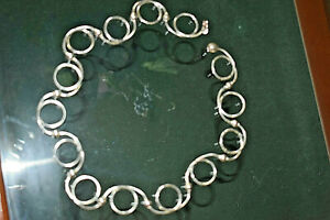 NewTiffany & Co Vintage 2000 Silver Swirl Twirl Bead Link Circles Necklace Rare