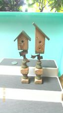 "2 Decorative Pedestal Birdhouses tallest is 7.5"" Wood"