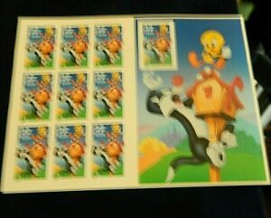 Sylvester and Tweety (Looney Tunes) Full Pane of Ten 32 Cent Stamps By USPS 1998