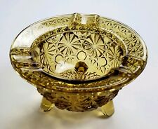 Vintage 1930's Depression Pressed Glass Footed Ashtray Amber
