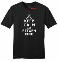 Keep Calm & Return Fire Mens Soft Cotton T Shirt Funny Gun Rights Isis Tee Z2